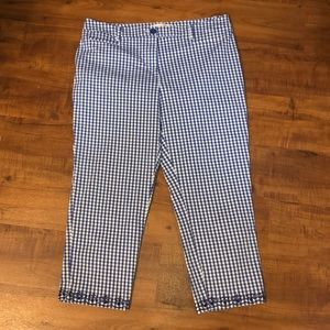 Talbots blue gingham chinos with eyelet detail